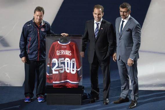 Le Canadien souligne le 2500e match du directeur du département de l'équipe, Pierre Gervais. (Photo Bernard Brault, La Presse)