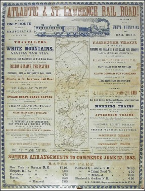 <strong>ATLANTIC&amp; ST.LAWRENCE RAIL ROAD</strong> : Les moyens de transport ont été déterminants dans ledéveloppement des affiches touristiques. Celle-ci, datant de 1853, montre que Montréal était déjà un attrait touristique pour les Américains qui partaient entrain du Maine ou de Boston. L'affiche mentionne également qu'un bateau à vapeur était accessible pourles voyageurs désirant se rendre à Québec. (Photo: image fournie par BAnQ)