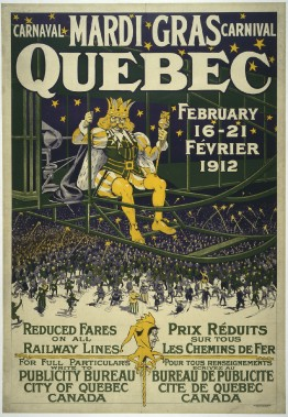 <strong>MARDI GRAS</strong> : Montréal a tenu un carnaval d'hiver avant Québec au XIXe siècle, mais c'est celui de Québec qui est devenu le plus important en Amérique du Nord. L'expression «Mardi gras» était toujours employée pour cet événement qui évoquait une machine volante en 1912, mais Bonhomme n'avait pas encore faitson apparition. (Photo: image fournie par BAnQ)
