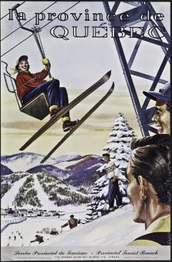 <strong>LA PROVINCE DE QUÉBEC</strong> : Même hiver québécois, même sport, mais une approche graphique complètement différente mettant l'accent, cette fois, sur l'immense joie des visiteurs. Cette affiche «à la Norman Rockwell» a d'ailleurs été réalisée vers 1950... aux États-Unis! (Photo: image fournie par BAnQ)