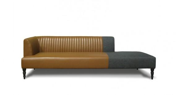 Méridienne Speak Easy de Lysianne Pepin, en cuir et tissu feutre, 4300$ à la boutique Maison Espace Pepin. (Photo fournie par Maison Espace Pepin)