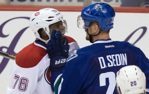 P.K. Subban et Daniel Sedin (Photo DARRYL DYCK, PC)