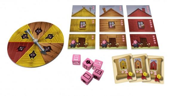 Le jeu Les trois petits cochons, conçu par Laurent Pouchain et édité par Purple Brain, a procuré beaucoup de plaisir aux jeunes (et moins jeunes) juges, qui lui ont décerné le prix Lys Enfant 2014. Le jeu s'adresse aux enfants de 6 ans et plus. (Photo fournie par Les Trois Lys)