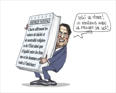 «Le titre de ce projet de charte, ça ressemble à la question du référendum. Mais Drainville est encore radieux, il a les joues rouges, on l'a rarement vu souriant comme ça.» (Illustration: Serge Chapleau, La Presse)
