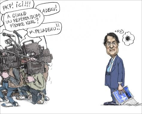«Cette fois, Pierre Karl Péladeau arrive, et plus personne ne s'occupe de Drainville. Après les élections, il a dit qu'il aurait été prêt à des amendements...» (Illustration: Serge Chapleau, La Presse)