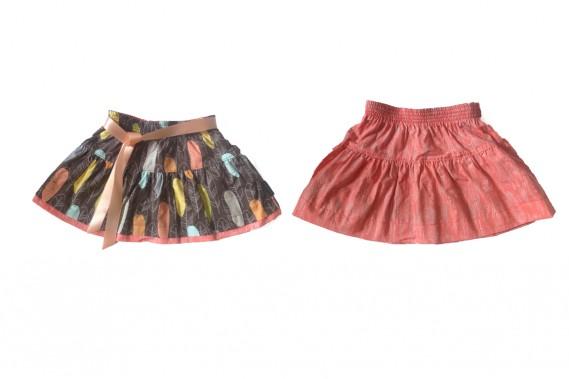 La jupe à plumes recto (à gauche) et verso (à droite), Alice et Simone, 59$. (Photo fournie par Alice et Simone)