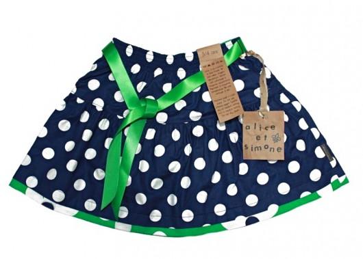 La jupe à pois marine et verte, Alice et Simone, 59$. (Photo fournie par Alice et Simone)