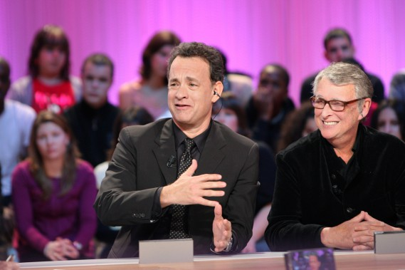 Tom Hanks et Mike Nichols au «Grand Journal» de Canal + font la promotion de leur film «Charlie Wilson's War» en janvier 2007. (Photo: archives AFP)