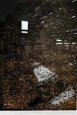 <em>La grange</em> (1972), gravure sur bois (Le Soleil, Erick Labbé)