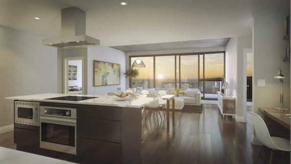 Les condos, aux plafonds de 9 pi de hauteur, seront dotés de grandes fenêtres. (Illustration fournie par DevMcgill)