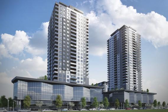 Les deux tours les plus hautes du complexe Urbania 2 auront 28 et 32 étages. (Illustration fournie par la Société de développement Urbania)