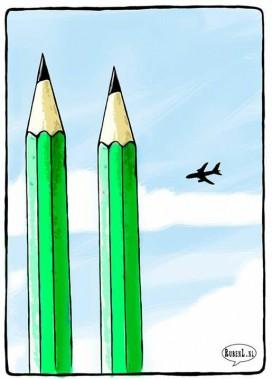 Le caricaturiste hollandais Ruben L. Oppenheimer a eu l'idée de transformer les défuntes tours jumelles du World Trade Center en crayons. (Ruben L. Oppenheimer)