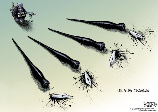 Chez Nate Beeler, caricaturiste du <i>Colombus Dispatch</i>, les victimes de <i>Charlie Hebdo</i> sont symbolisées par des plumes. (@natebeeler, www.dispatch.com/beeler)