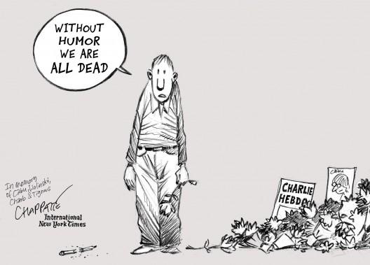 «Sans humour nous sommes tous morts», prévient le Suisse Patrick Chappatte, qui signe son dessin pour l'<i>International New York Times</i>. (Chappatte dans The International New York Times)
