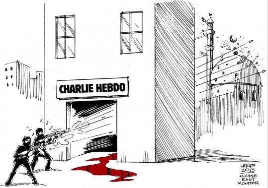Dans la proposition de Carlos Latuff, publiée par le <i>Middle East Monitor</i>, au Royaume-Uni, les armes de l'agresseur se retournent contre ses propres croyances. (Middle East Monitor, Carlos Latuff)