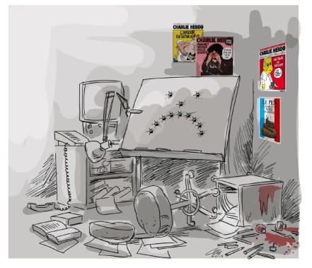La caricature d'André-Philippe Côté dans la page Opinions du Soleil du 8 janvier (Le Soleil, André-Philippe Côté)