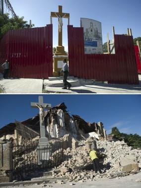 L'église du Sacré Cœur en 2014 (en haut) et en 2010. (Agence France-Presse)