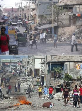 Le centre-ville de Port-au-Prince après le séisme (en bas) et en décembre 2014. (Agence France-Presse)
