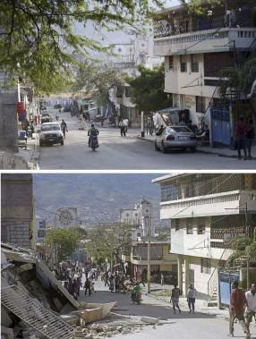 Une rue de Port-au-Prince reconstruite en 2014 (en haut) Elle était en mauvais état après le séisme (en bas). (Agence France-Presse)