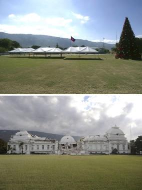 Le palais national a été détruit par le tremblement de terre en 2010 (en bas). (Agence France-Presse)