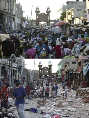Le centre-ville de Port-au-Prince en 2010 (en bas) et en 2014. (Agence France-Presse)