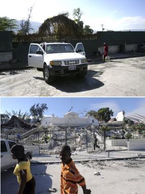 Le palais de justice de Port-au-Prince a été détruit par le séisme en 2010 (en bas). (Agence France-Presse)