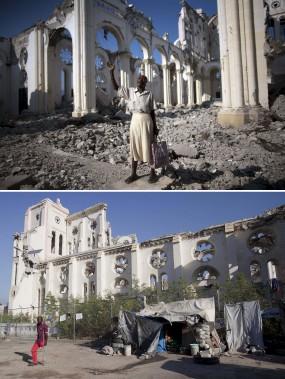 Une femme prie devant une cathédrale démolie en 2010 (en haut). (Associated Press)