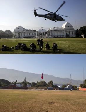 Un hélicoptère s'envole devant un palais national dévasté en 2010 (en haut). (Associated Press)