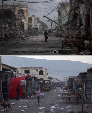 Une rue dévastée en 2010. La même rue (en bas) en 2015. (Associated Press)