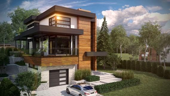 Certifiée Novoclimat 2.0, la Maison Tanguay est parée de panneaux de bois laminé, de pierre et de clin de fibrociment. (Graph Synergie)