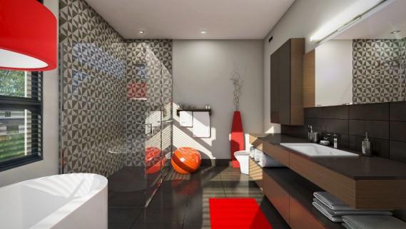 Des accents de rouge animent la salle de bain principale. La céramique de la douche joue la touche géométrique, comme ailleurs dans la maison. (Graph Synergie)