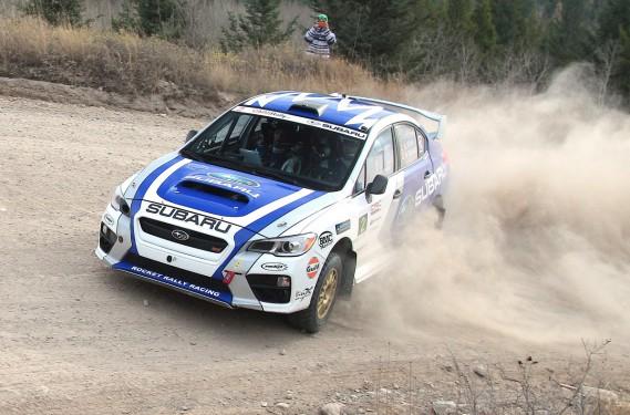 Au volant de la nouvelle Subaru STi 2015, Antoine L'Estage estime pouvoir abattre tous les records d'étapes établis jusqu'à ce jour dans les six rallyes du championnat canadien. (Photo Phil Ericksen/Radikal Videos, fournie par Subaru Canada)