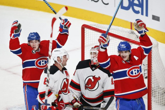 Brendan Gallagher et Max Pacioretty étaient placés devant le filet de Keith Kinkaid sur le but d'Andrei Markov. (PHOTO ROBERT SKINNER, LA PRESSE)