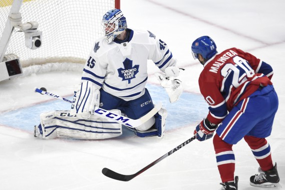 Manny Malhotra a ouvert la marque en début de match, son premier but dans l'uniforme du Canadien. (Photo Bernard Brault, La Presse)