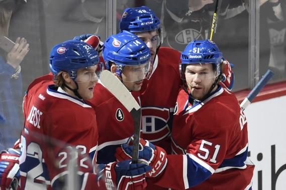 Tomas Plekanec a donné une avance de 2-0 au Canadien contre les Maple Leafs à mi-chemin en première période. Son tir des poignets a déjoué Jonathan Bernier. (Photo Bernard Brault, La Presse)