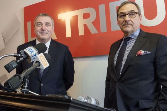 Claude Gagnon et Martin Cauchon lors du point de presse. ()