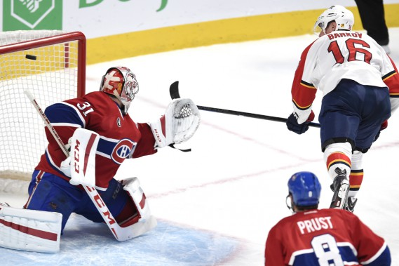 Aleksander Barkov a déjoué Carey Price d'un tir du revers. (Photo Bernard Brault, La Presse)