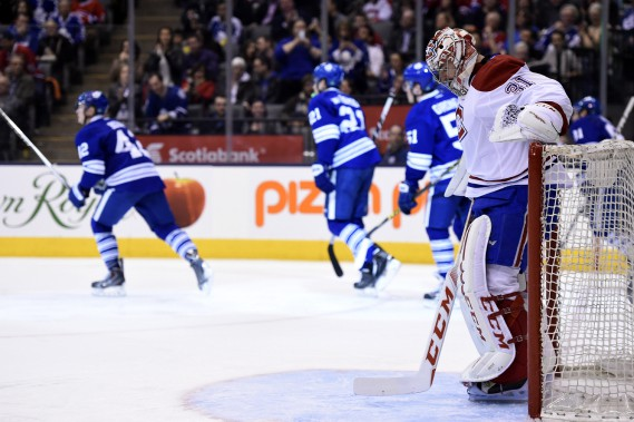 Carey Price a la mine basse après avoir accordé le troisième but des Leafs. (PHOTO FRANK GUNN, LA PRESSE CANADIENNE)