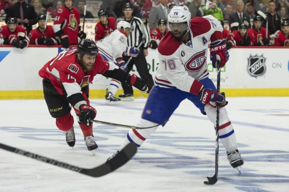 P.K. Subban tente une percée en zone adverse. (Reuters)