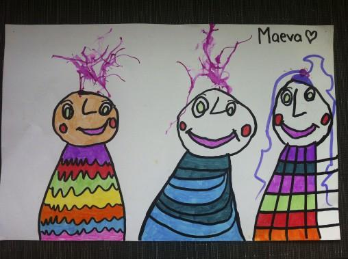 Voici le dessin de notre fille Maeva représentant (de gauche à droite) elle-même, papa Martin et moi, maman Josée. Ce dessin nous a beaucoup touchés car les personnages reflètent la joie et l'amour que nous lui offrons dans sa vie! Je l'aime aussi parce qu'elle y a mis de belles couleurs vives et de jolis détails! -<strong><i>Josée Picard</i></strong> ()