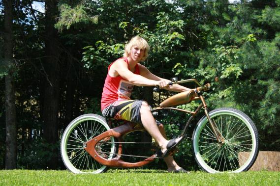 Tous les vélos fonctionnent, assure son créateur Stéfan Lesage. «On fait une dizaine de kilomètres chaque fois, bien souvent sur la piste cyclable du P'tit Train du Nord.» (Photo fournie par Stéfan Lesage)