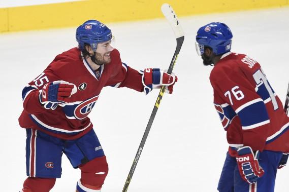 Pierre-Alexandre Parenteau festoie avec P.K. Subban après avoir marqué le deuxième but du Canadien. (PHOTO BERNARD BRAULT, LA PRESSE)