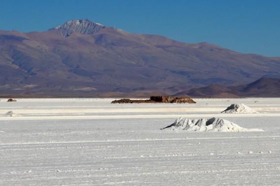Salinas Grandes est un désert de sel de la puna, une plante d'altitude. Au loin s'élève le Nevado de Chañi, un volcan éteint de 5949 mètres d'altitude. (Photo Marc Tremblay)