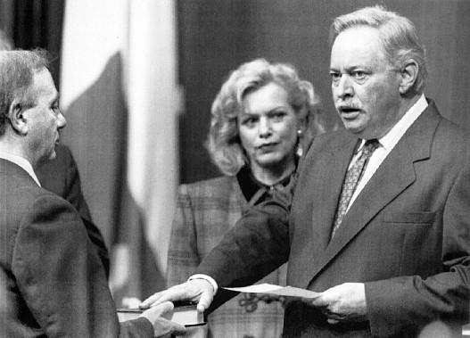 Lisette Lapointe et Jacques Parizeau le 26 septembre 1994 (Archives La Presse Canadienne)