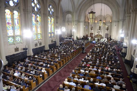 L'église Saint-Germain d'Outremont était remplie. (La Presse Canadienne)