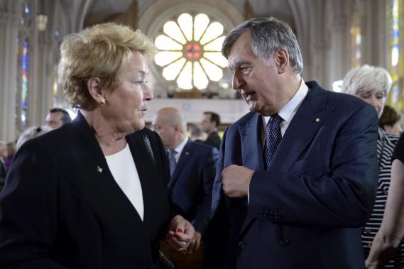 Les ex-premiers ministres du Québec Pauline Marois et Lucien Bouchard assistaient aux funérailles d'État de Jacques Parizeau, le 9 juin (La Presse Canadienne, Paul Chiasson)