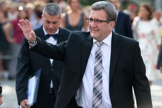 Le célébrant du mariage, le maire de Québec,Régis Labeaume. (Photo Erick Labbé, Le Soleil)