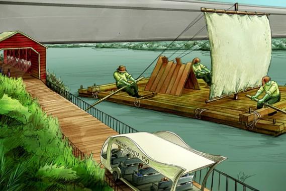 L'oeuvre <em>Si l'Outaouais m'était conté<strong></strong></em>serait érigée directement sur l'eau. Elle rendrait hommage aux draveurs qui ont marqué l'imaginaire collectif de la région. (Courtoisie)
