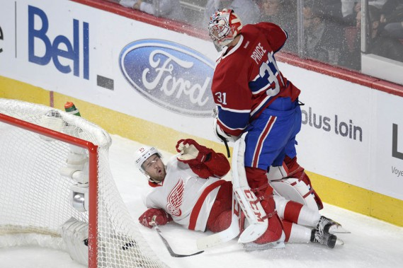 Riley Sheahan a fait la rencontre de Carey Price. (PHOTO BERNARD BRAULT, LA PRESSE)