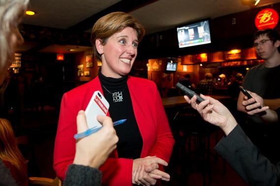 Marie-Claude Bibeau avec les journalistes. ()